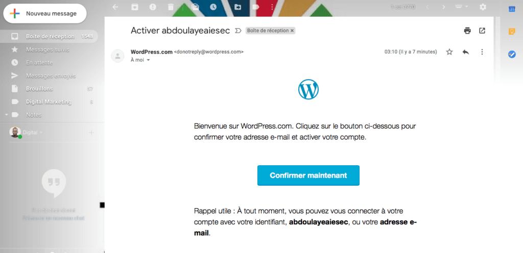 Confirmation 1024x496 - Créer un blog gratuit avec wordpress