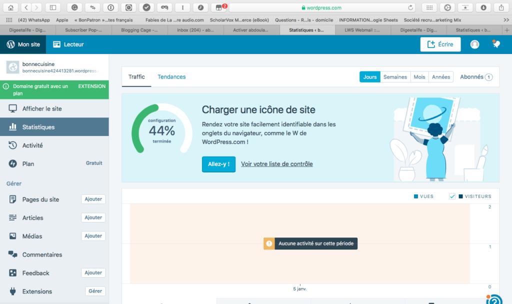Espace admin 1024x608 - Créer un blog gratuit avec wordpress